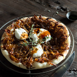 Caramelized Onion Tart with Caraway Puff Pastry and Balsamic Vinegar.