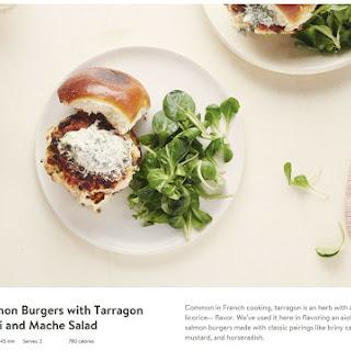 Salmon Burgers with Tarragon Aioli and Mache Salad