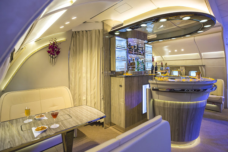 The new bar area for the Emirates Airlines A380 aircraft.