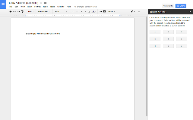 easy accents google docs add on