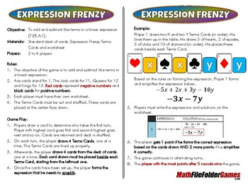 Expression Frenzy [CCSS 7.EE.A.1]