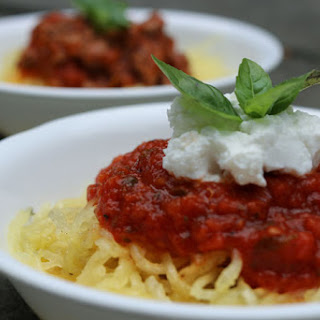 Spaghetti Squash with Simple Tomato Sauce & Goat Cheese.