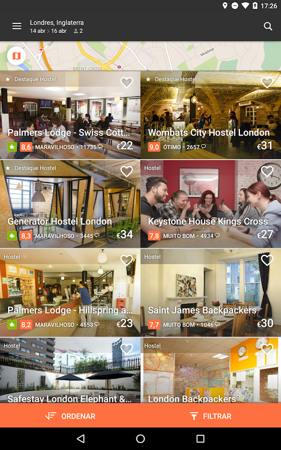 Hostelworld-Hostels e Pousadas– captura de ecrã