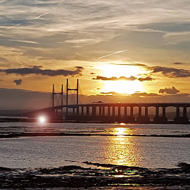 Severn Sunset by Ingrid Anderson-Riley - Buildings & Architecture Bridges & Suspended Structures (  )