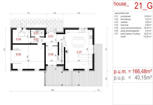 House 21 - Rzut parteru - wersja z garażem jednostanowiskowym