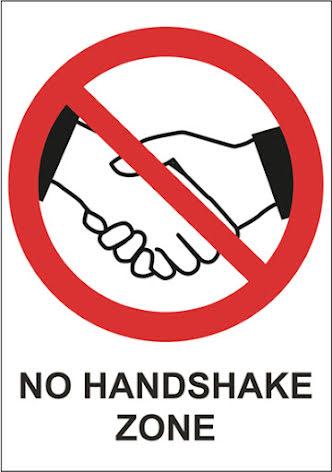 Skylt No Handshake A4 plast