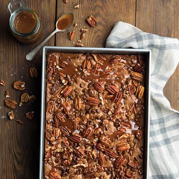 Double-Pecan and Caramel Brownies - Taste of the South