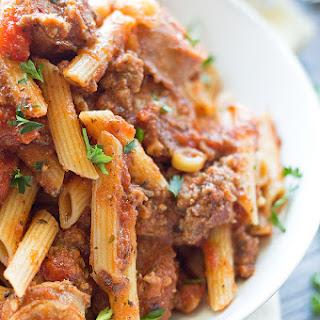 Spicy Italian Sausage Marinara Pasta.