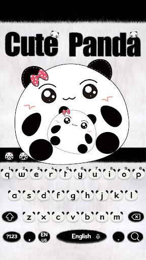 Cute Panda Keyboard Theme screenshots 1