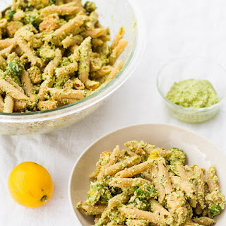 Pesto Pasta with Roasted Brussel Sprouts and Tempeh Sausage.