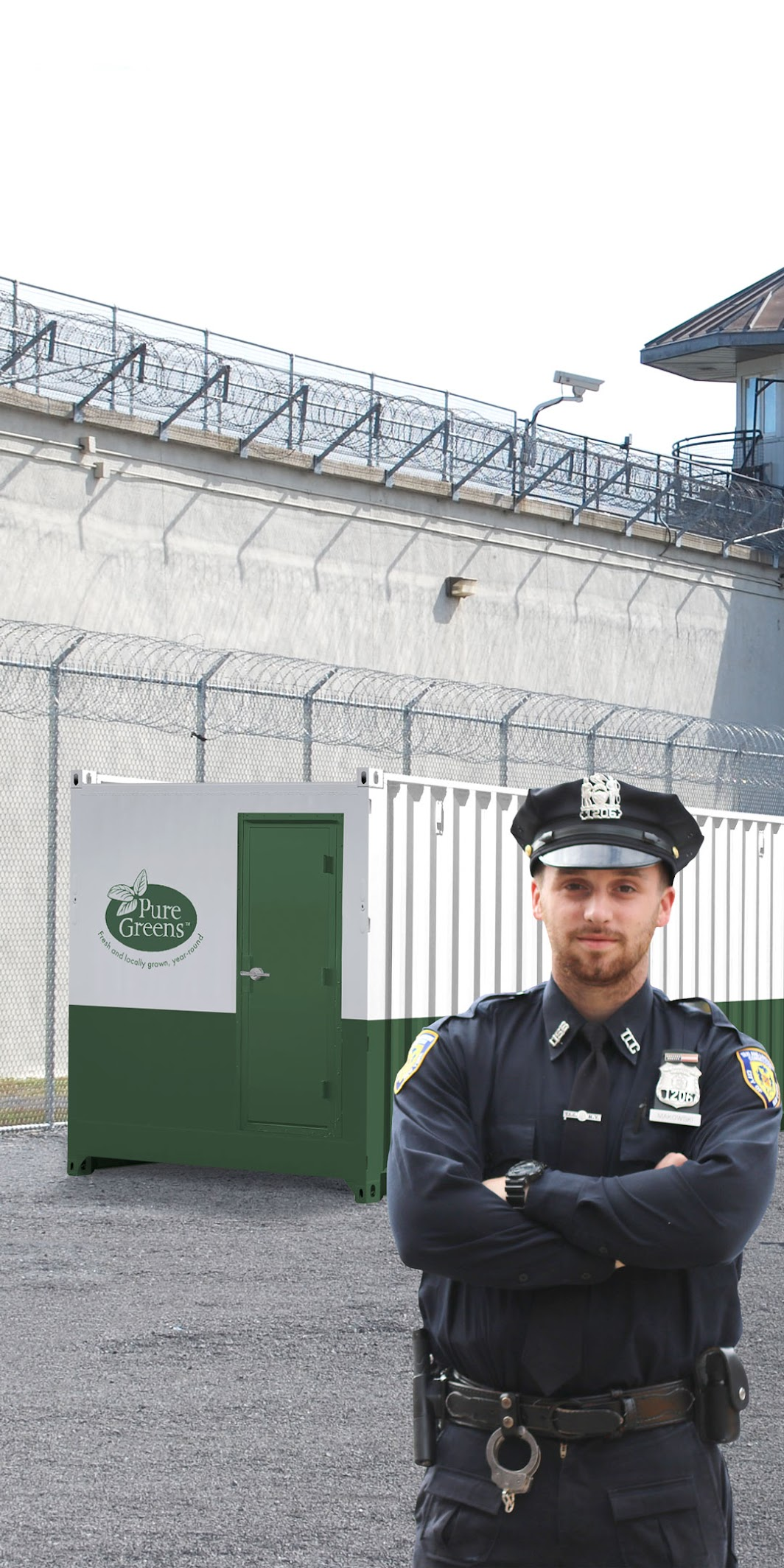 an standing in front of correctional facility container farm