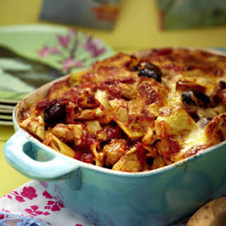 Baked Penne with Mushrooms, Olives and Artichokes.