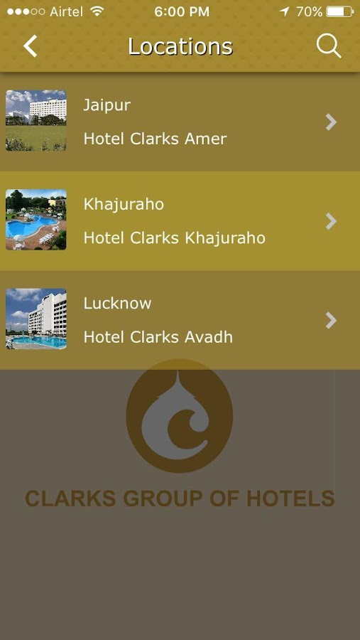 Clarks group of Hotels- screenshot