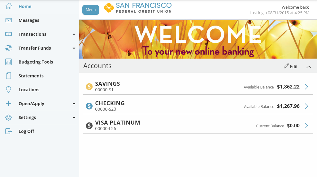San Francisco FCU Mobile- screenshot