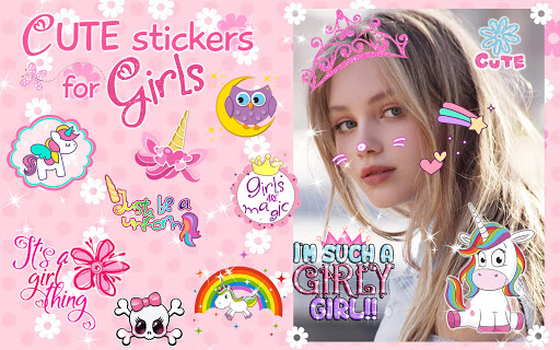 Cute Stickers for Photos ud83dudc9d Girl Pic Editor 1.0 screenshots 8