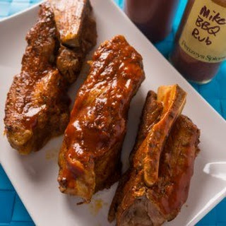 Pressure Cooker Pork Western Shoulder Ribs with Barbecue Rub and Sauce.