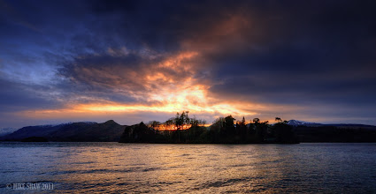 Photo: Camp fire Of The Gods, Derwent water in the Lake District UK, I was fortunate to catch the sun as it set behind the island that sits in the centre of the lake, this was in autumn a few years ago, its paradise to me, there are so many places you can get to that others just dont see.