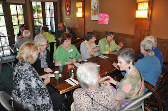 Photo: Clockwise from the left are Joan Stamm, Gwen Stamm, Ida Freilinger, Marilyn Sandall, Angela Terry, Ruth Yarrow (hidden), Dianne Garcia, Connie Hutchison, and Dorothy Matthews (facing away).
