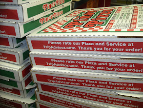 """Photo: As for this Photo, I Just wanted to show that we put  """"Please rate our Pizza and Service at www.TripAdvisor.com/reviewit  onto over 30,000 pizza boxes. We do this each summer. Who else does this? NO ONE---that`s who.  My Pizzas take more effort to make, and cost more to make,  and because of this added effort and cost my pizza gets the best ratings in town.   Check our reviews on trip Advisor:    http://www.tripadvisor.com/Restaurant_Review-g41298-d391416-Reviews-Pino_s_Pizza-Ocean_City_Maryland.html       I`m am not scared to have people rate my pizza because i know my pizzas are hearty and scrumptious.  It`s also a couple dollars more than anyone else in town.  But I make it worth a couple more dollars.   My dough is between thin and medium fresh-made and hand stretched. On all pies, extra sauce and extra cheese is automatic.   2012 is our 31st year!  Jim Hofman    Owner/Operator/Pizza Inspector for 20 years"""