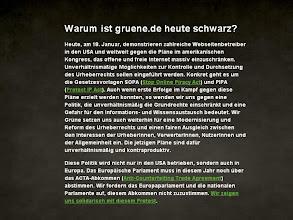 Photo: Grün trägt schwarz: Auch Bündnis 90/Die Grünen protestieren gegen SOPA und Co. (Quelle: gruene.de)
