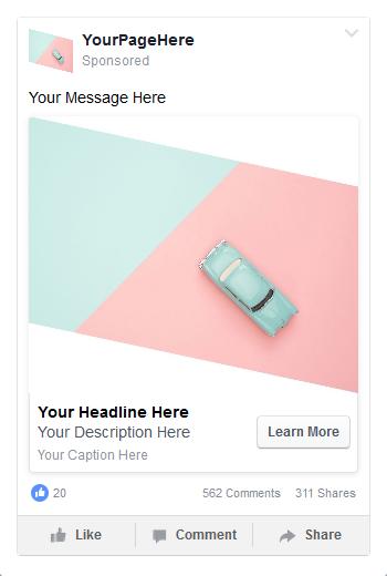 esempio di fb ads con banner bianchi per catturare l'attenzione
