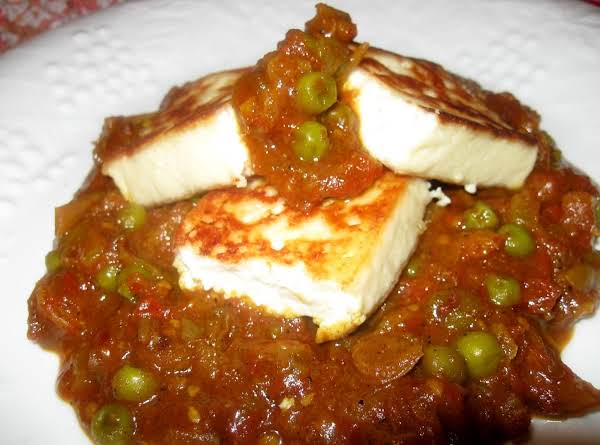 Paneer With A Tomato Chutney. Very Spicy !