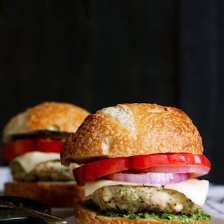 Spinach Basil Pesto Chicken Burgers.