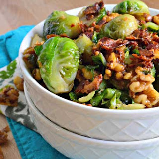 Brown Sugar Bacon Brussels Sprouts with Candied Walnuts.