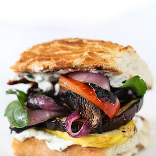 Grilled Vegetable Sandwich with Herbed Ricotta.