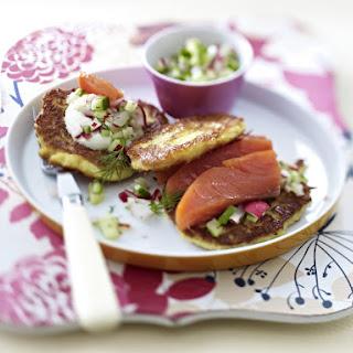Potato Pancakes with Smoked Salmon and Radish Cucumber Relish