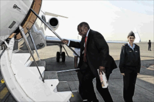 MISSION IMPOSSIBLE: Deputy President Cyril Ramaphosa boards a plane to Lesotho at OR Tambo International Airport . He is visiting the country as a SADC facilitator as part of an effort to help Lesotho find a solution to its current political and security crisis photo: dicophoto