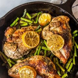 One Pot Lemon Chicken and Asparagus.