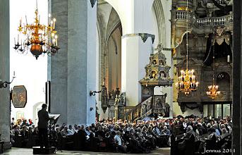 """Photo: Hansestadt Rostock, Kirche St. Marien mit prächtigem, reparaturbedürftigem Orgelprospekt von Paul Schmidt.  """"Kiek mol wedder in."""""""