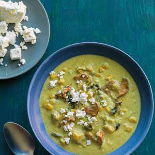 Creamy Poblano Chile Soup with Corn and Mushrooms Recipe