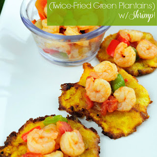 Puerto Rican Tostones Recipe, Served with Shrimp & Tomato Topping Recipe