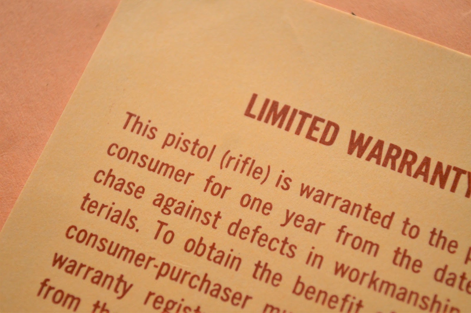 Limited Warranty on paper
