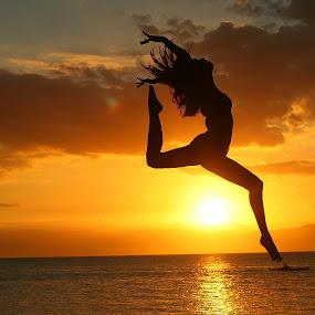 Sunset Dance by Sergei Tokmakov - People Portraits of Women ( model, sexy, girl, sunset, sea, beach, dance, jump,  )