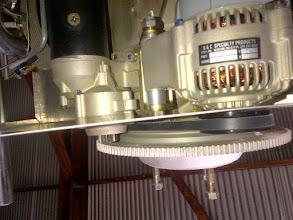Photo: Alternator & Starter ring gear line up after B&C provided a new alternator mount bracket.