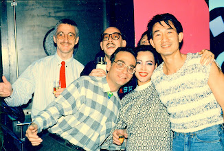 Photo: Sal with Kaufman, Clynes, Ong & Mister Camaclang. Congo Blue @ Canton. 1986.
