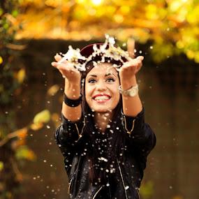 Joy of water by Sabin Malisevschi - People Portraits of Women ( water, girl, autumn, beautiful, drops, smile, women,  )