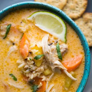 slow cooker Thai Chicken & Wild Rice Soup.