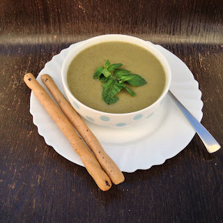 Romanesco, Granny Smith, Lentil and Zucchini soup.
