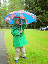 Photo: It wasn't raining, but Miles insisted on using his SpiderMan umbrella and wearing his froggy rain coat everywhere.