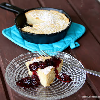 Cast Iron Skillet Pancake with Fresh Blackberry Champagne Compote.