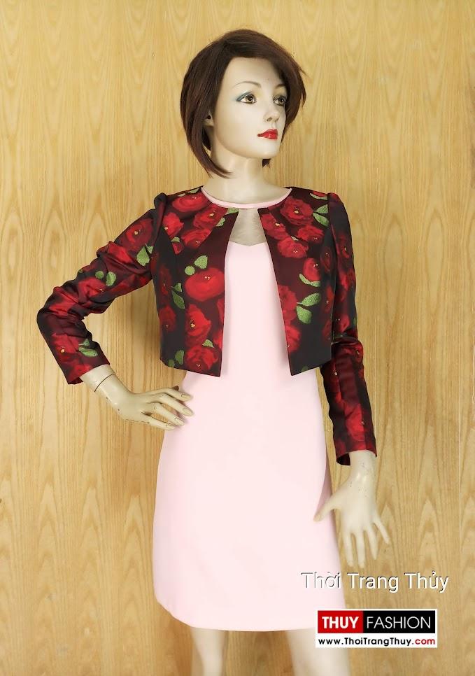Áo khoác cộc nữ kiểu dài tay thu đông họa tiết hoa V639 Hải Phòng