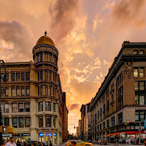 After The Storm by Elk Baiter - City,  Street & Park  Street Scenes ( clouds, intersection, sky, sunset, street, buildings, storm, ny, city, chelsea,  )