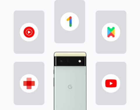 Collage of a new Pixel 6 phone surrounded by cards that show all the services included in Pixel Pass: YouTube Premium, YouTube Music Premium, Preferred Care, Google One, and Google Play Pass.