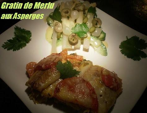 Gratin de merlu et ses asperges blanches