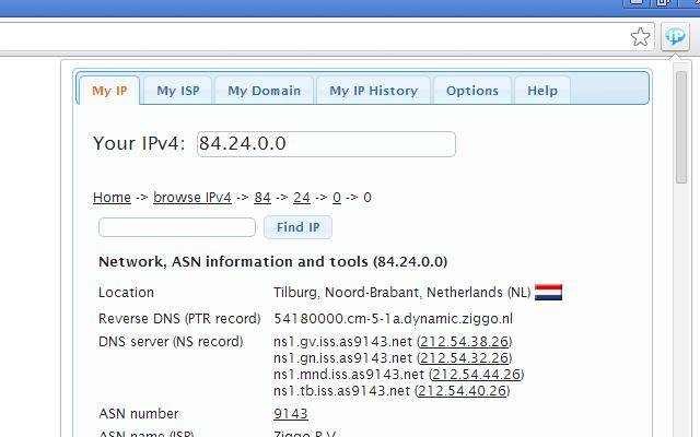 My IP address Chrome Web Store