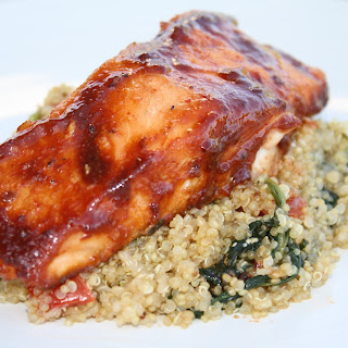 Honey Chipotle Glazed Salmon with Tomato and Spinach Quinoa